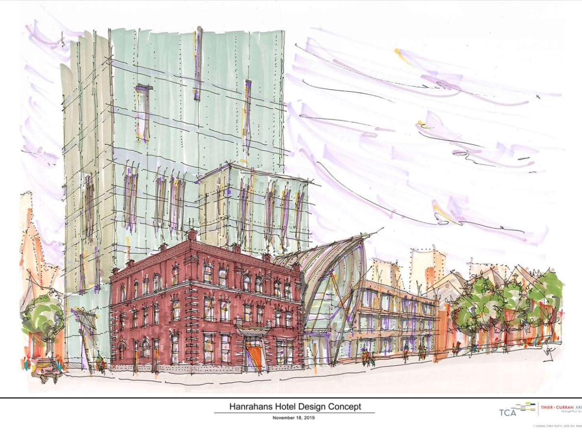Hotel Hanrahan conceptual drawing by Bill Curran, TCA Inc., Hamilton