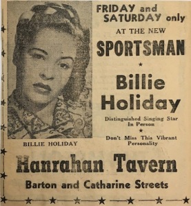 Billie Holiday at Hanrahan Tavern, Hamilton, 1951