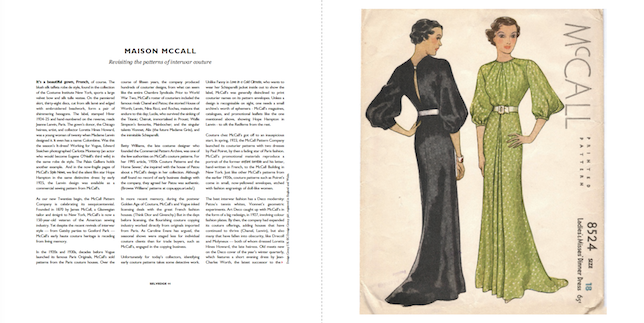 "Sarah Sheehan, ""Maison McCall"" with McCall 8524 dinner dress in Selvedge magazine 95 (July/August 2020)"