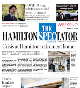 The Hamilton Spectator front page, Saturday May 16, 2020