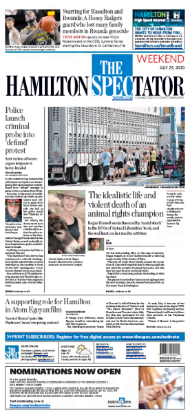 Hamilton Spectator front page for July 25, 2020