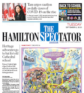 Front page of the Hamilton Spectator for Tuesday September 8th, 2020
