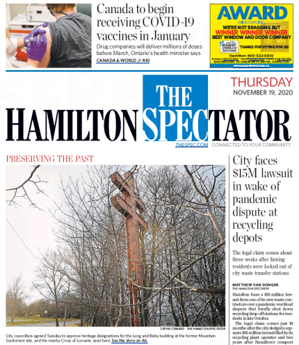 Preserving the Past - Long & Bisby and the Cross of Lorraine on the front page of the Hamilton Spectator, Thursday, November 19, 2020