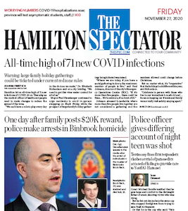 Front page of the Hamilton Spectator, Friday, November 27, 2020