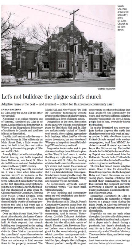 """Let's not bulldoze the plague saint's church"" op-ed about St. Giles by Dr. Sarah Sheehan, December 12, 2020"