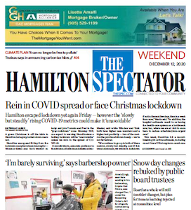 The Hamilton Spectator front page, Weekend December 12, 2020