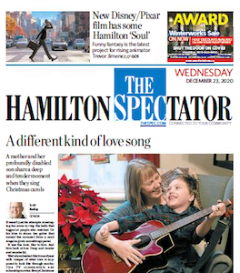 Front page of the Hamilton Spectator, Wednesday, December 23, 2020