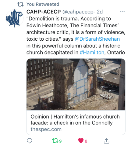 """Demolition is trauma. According to Edwin Heathcote, The Financial Times' architecture critic, it is a form of violence, toxic to cities."" says @DrSarahSheehan in this powerful column about a historic church decapitated in #Hamilton, Ontario"