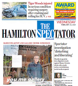 Spectator front page for Wednesday, February 24, 2021 with photo of Bryce Kanbara of You Me Gallery