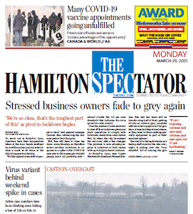 Front page of the Hamilton Spectator, Monday, March 29