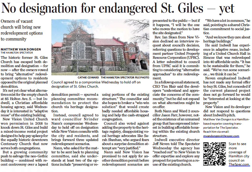 No designation for endangered St. Giles – yet: Owners of vacant church will bring new redevelopment options to community. By Matthew Van Dongen