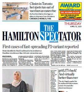 Hamilton Spectator front page, Thursday, April 15, 2021