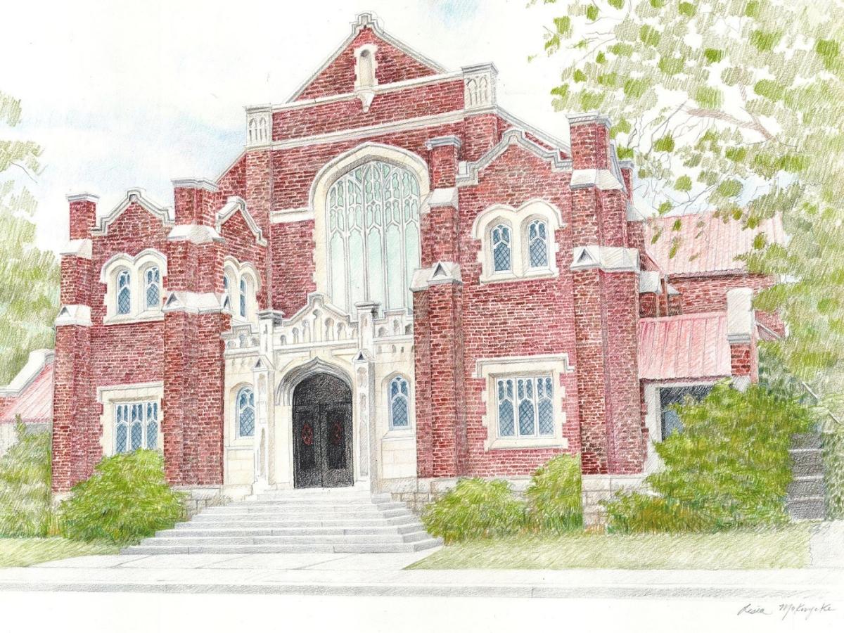 St.Giles Church, Hamilton pencil crayon on paper 16 x 20 January 2020 © Lesia Mokrycke