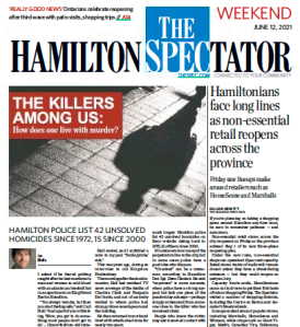 Front page of The Hamilton Spectator, weekend edition, June 12, 2021