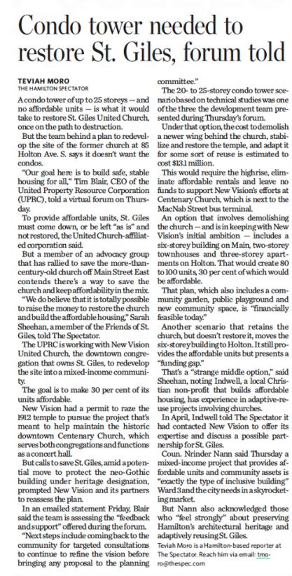 Condo tower needed to restore St. Giles, forum told – Teviah Moro, The Hamilton Spectator